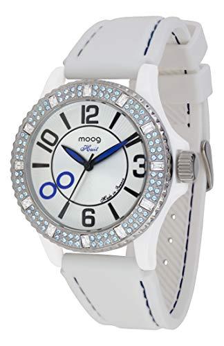 Moog Paris Huit Montre Femme avec Cadran Blanc, Eléments Swarovski, Bracelet Blanc en Silicone - M45522-005