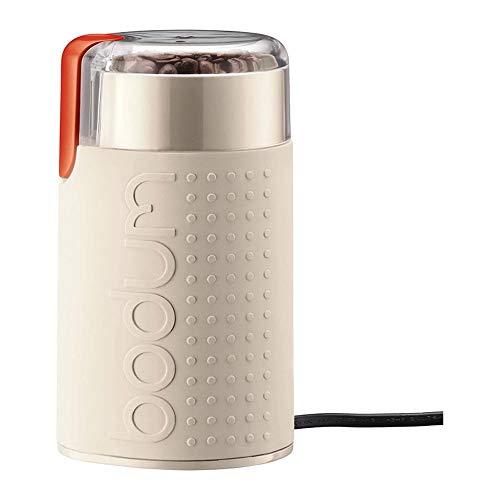 Fighrh 220 V Elektrische Kaffeemühle Edelstahl Messermühle Abnehmbare Kaffeemühle Transparenter Deckel Elektrische Bohnenmühle Maschine Tragbare Elektrische Haushaltsmühle (Color : White)