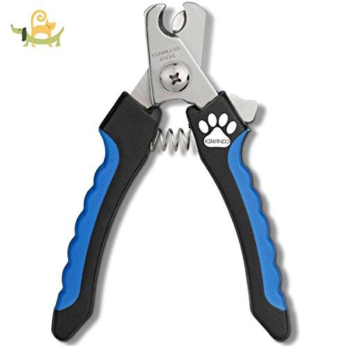 Professionelle, handliche Krallenzange von KIRANDO - Einfach und sicher in der Handhabung, perfekt im Ergebnis - Ideal für alle kleinen, mittleren & großen Hunde, Katzen, Kaninchen, Vögel, Meerschweinchen & andere Nager - Krallenschere zur Krallenpflege in Tiersalon Qualität - Pfoten-Schere mit Sicherheitsverschluss - Nagelzange mit Sicherheits-Abstandhalter - Nagelpflege für alle Rassen - Nagelknipser aus rostfreiem Edelstahl