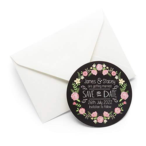 Save the Date Personalisierte Magnete, Kreidetafel, 70 mm, verschiedene Farben erhältlich, 60 Magnets & White Envelopes