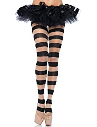 Leg Avenue Sheer & Opaque Striped Tights, Black/Nude, UK 6-12