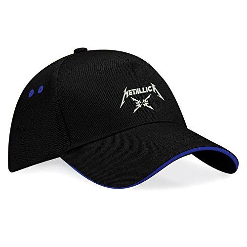 METALLICA Musik Rock Rockmusik Bestickte Logo Mütze Baseball Cap - k125 (Sw-Blau)