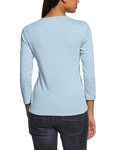 Eddie Bauer 21602544 - T-shirt - uni - Col V - Manches 3/4 - Femme Bleu (Taubenblau)