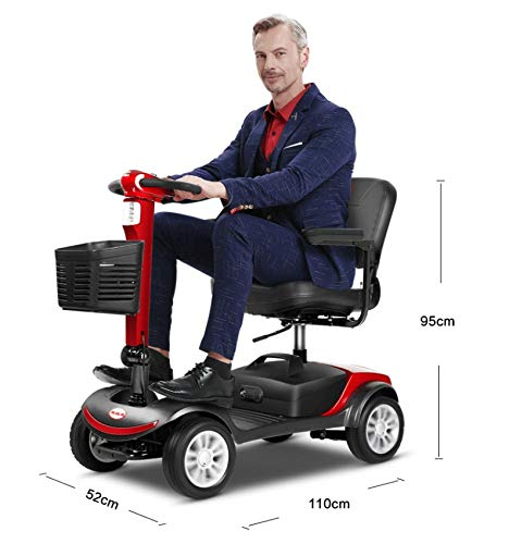 Mopoq Medizinisch angetriebener 4-Rad-Roller mit Einer großen Reichweite von 15 Meilen und Einer 3-Jahres-Garantie for ältere Menschen (Color : Red)
