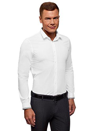 extra slim fit hemden oodji Ultra Herren Hemd Extra Slim Fit mit Kontrastbesatz an Kragen und Manschetten, Weiß, Herstellergröße 37 (Kragenweite 37 cm)/ DE 42 / XXS