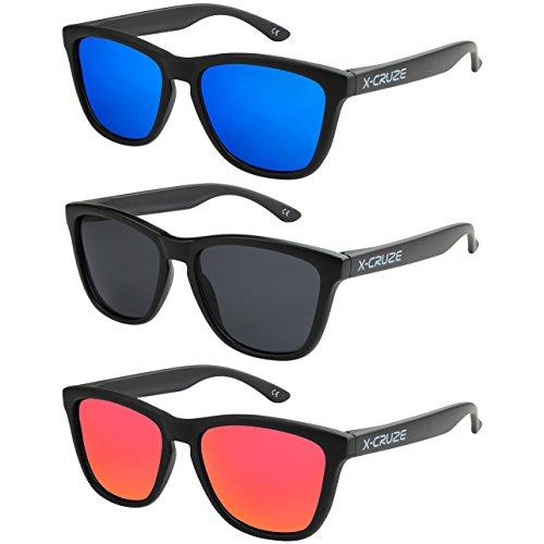X-CRUZE 3er Pack X01 Nerd Sonnenbrillen polarisierend Vintage Retro Style Stil Unisex Herren Damen Männer Frauen Brillen Nerdbrille Nerdbrillen - schwarz matt LW - Set B -