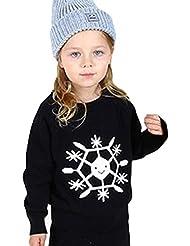 CHENGYANG Vêtements de Famille Mignonne Flocons de Neige Tricots Manches Longue Chandail pour Bébé et Mère