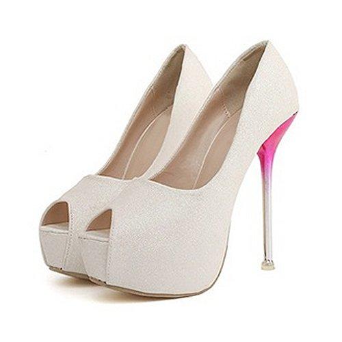 Escarpins femmes sandales plateforme à talons haute en velours aspect brillant Blanc