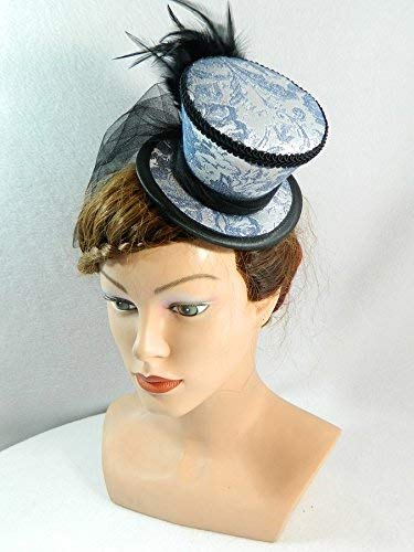 Mini Zylinder silber blau Minihat Damenhut Fascinator Hut -