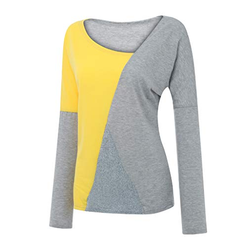 ➤Refill➤ Blusen & Tuniken für Damen, T-Shirts für Damen,Damen V Ausschnitt Kurzarm/Langarm Sommer Casual Farbblock T Shirt Top Bluse Oberteil -