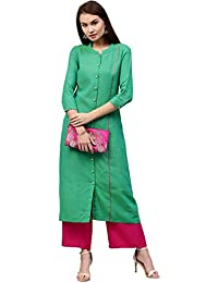 [Sponsored]Jaipur Kurti Women's Handloom Embroidered Long Kurta With Front Placket (Sea Green)