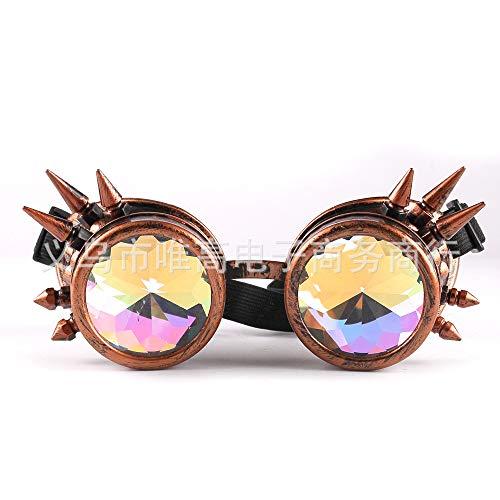 ljmhyk Neue Niet Steampunk Goth Retro Farbe Kaleidoskop Brille Mode Brille Cosplay Brille