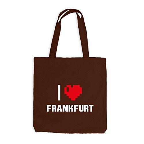 Jutebeutel - I Love Francoforte - Germany Travel Heart Cuore Pixel Chocolate