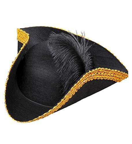 GYD DREISPITZ Hut (OHNE Federn) UND GOLDFÄDEN Rand aus Filz Piratenhut Royal Für Frau&Mann (verkauft per DHL)