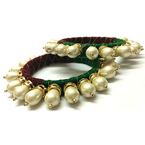 AKSHAJ (Set of 2) Trendy Latest White Pearl Velvet Thread Traditional Ethnic Look Bangles Kada for Women Girls (2.6 inches)