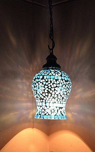 Indian Home Decorative Designer Mosaic Glass Crafted Pendant Hanging Lamp Chrismtas Ceiling Light 18 Cm