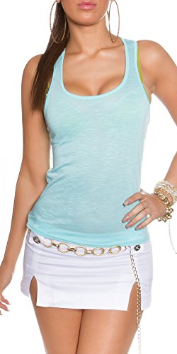 Damen Top Shirt Tanktop Spitze Farbe Neon 32 34 36 Neu Sexy Sport Freizeit Aqua (Shirt Aqua-spitze)