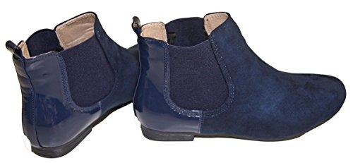 Bottine plate Femme bi-matières Simili Peau et Vernis Bleu