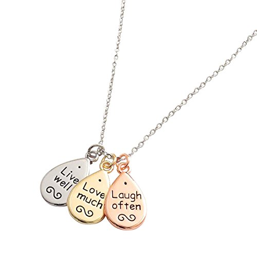 """Kiara gioielli Triple cluster ciondolo """"Live Well Love much"""" & """"Laugh often su 40,6cm catena allungabile fino a 45,7cm. Placcato in argento, giallo e oro rosa colori."""