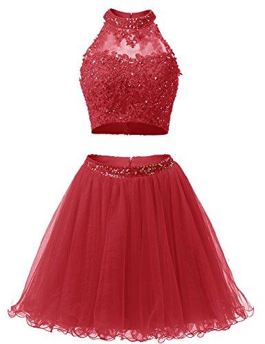 Dresstells Robe courte de soirée de cocktail Robe de bal emperlée en tulle deux pièces Rouge Foncé
