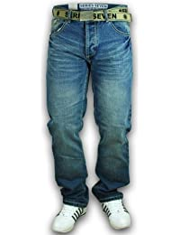 Mens Jeans Denim Designer Belted Seven Series Trouser Faded Bottoms Casual New 48A