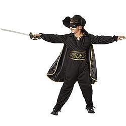 dressforfun 900518 - Jungenkostüm Zorro, In Schwarz gehaltenes Zorro-Outfit inkl. Cape, Maske und Hut (128 | Nr. 302589)