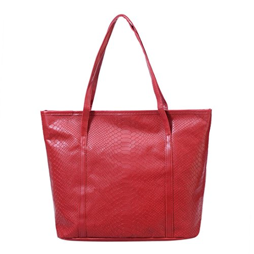Transer  PU Leather Handbags & Single Shoulder Bags Women Zipper Bag Girls Hand Bag, Damen Schultertasche rot 33cm(L)*31(H)*13cm(W) rot