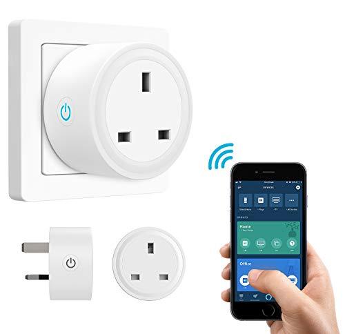 MoKo Smart Plug, No Hub WiFi Socket Compatible with Alexa Echo Dot, Echo Spot, Google Home, IFTTT, Smart Life Wireless Remote Control - White Spot Remote