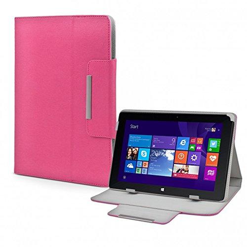 Tasche für TrekStor Volks-Tablet SurfTab wintron 10.1 3G Volks-Tablet 3 Hülle Zubehör Schutzhülle mit Aufsteller Leder-Optik pink