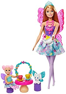 Barbie - Dreamtopia, Fiesta de Té, Muñeca de Hada Rubia con Accesorios (Mattel GJK50)