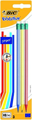 BIC Evolution Stripes Lápices de Grafito HB con Goma Incorporada - colores Surtidos, Blíster de 3 unidades