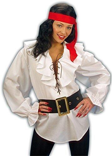 Widmann 4181B - Piraten / Renaissance Bluse weiß für Erwachsenen, Größe M (Baumwoll-italienisch Hemd)