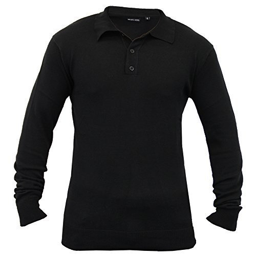 Hommes Pull Tricot Polo Sweatshirt By Brave Soul Noir - 181PLACKET