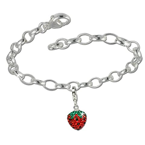 SilberDream Charms Kette Set - Erdbeere - Swarovski Kristalle 925 Sterling Silber Charm Armband - FCA140