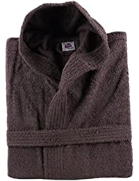 100% Cotton Terry Towelling Hooded Bath Robe + Matching Belt - Medium (Brown)
