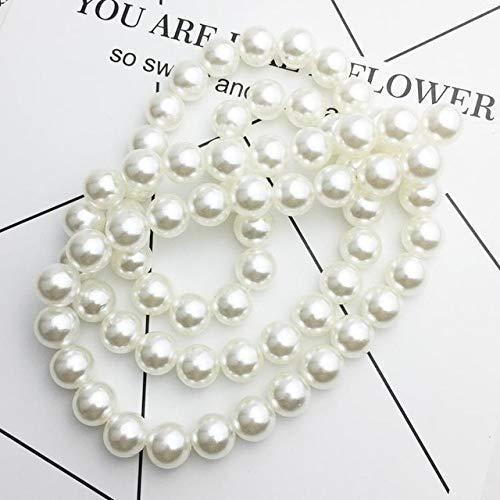 AiCheaX Künstliche Perlenkette 6/8/10/12/14/16 / 18mm Angelschnur Perlen Dekoration für die Schmuckherstellung DIY Schmuckzubehör - (Farbe: Weiß, Größe: 10mm ca. 110 STK.)