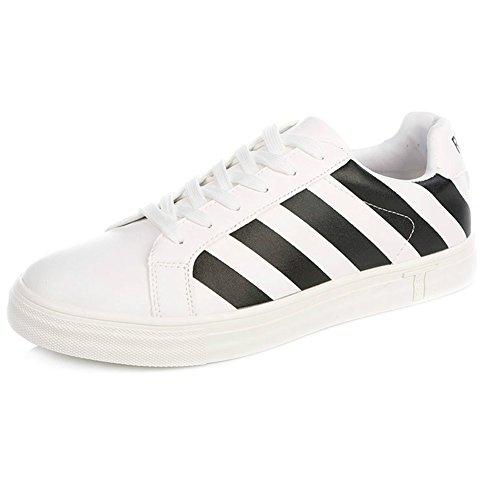 YIXINY Schuhe Sneaker 1164511039 Frühling Und Herbst Breathable Mode Gestreiften Flachen Casual Männer Schuhe (Farbe : Weiß, größe : EU40/UK7/CN41)