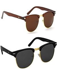Hupshy Wayfarer Sunglasses Combo (Black And Brown) Golden Frame, UV Protected Sunglasses Combo