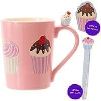 Cute pink cupcake mug, nail file and tweezers set