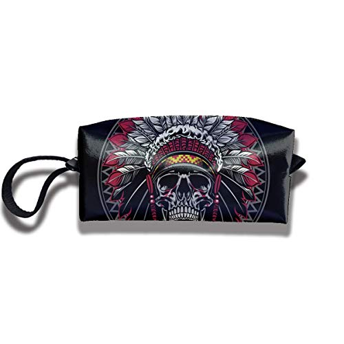 Native America Warrior Skull Headdress Print Fashion Cosmetic Pouch Bag Interesting Makeup Junkie Bags Travel Storage Package Pouch with Zipper