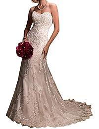 VIPbridal Vestidos de novia de la sirena del amor del cordón de las mujeres largas Backless