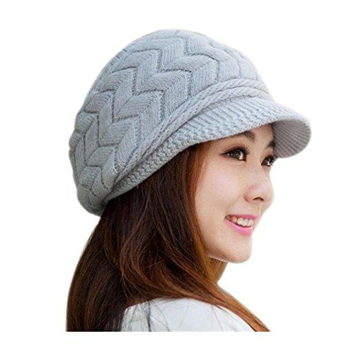 Kfnire cappelli invernali per le ragazze delle donne calde calza cappello  di sci di neve di neve della neve con la visiera (grigio) 5fe7bb5c43eb