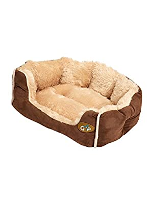 Gor Pets Nordic Soft Snuggle Dog Cat Bed Washable - Small (Brown Suede)