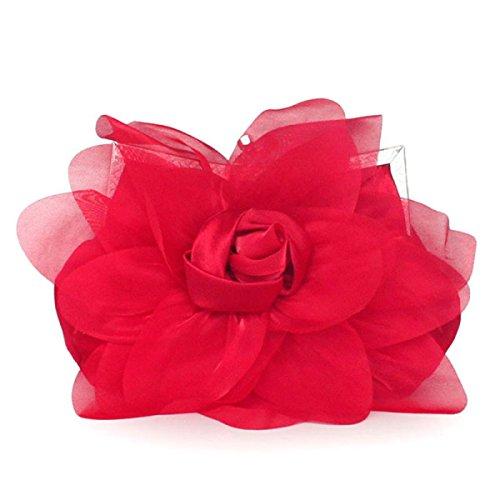 Signore Di Personalità Di Modo Roses Banchetto Del Telefono Mobile Cosmetic Handbag Red