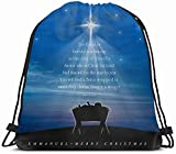 DHNKW Drawstring Backpack String Bag 14x16 Wrapped Traditional Manger Christmas Announce Scene Baby Star Born Silhouette Ray Birth Tree Immanuel Story Sport Gym Sackpack Hiking Yoga Travel Beach