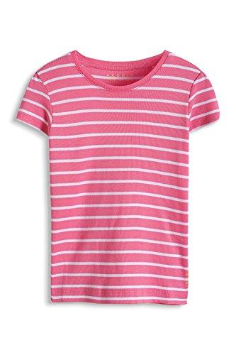 ESPRIT Mädchen T-Shirt 045EE7K002, Gestreift, Gr. 128 (Herstellergröße: 128/134), Rosa (CRYSTAL PINK 592)