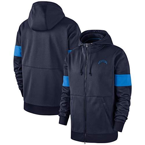 YUN-SWEATHIRTS Kapuzenpulli Herren Pullover Full Zip Sweater American Football Fans Jerseys for Los Angeles Ladegeräte (Color : Deep Blue, Size : XXL)