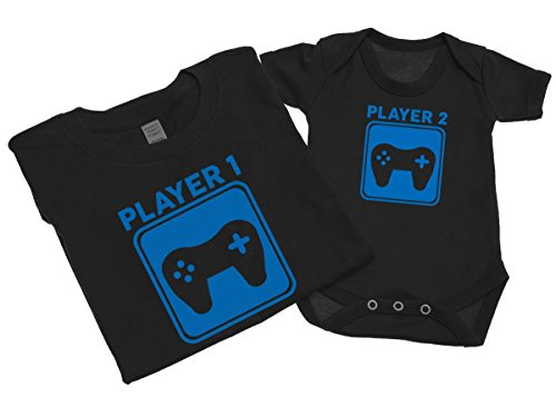 player-1-and-player-2-mens-t-shirt-with-short-sleeve-bodysuit-matching-gift-set-m-0-3-black