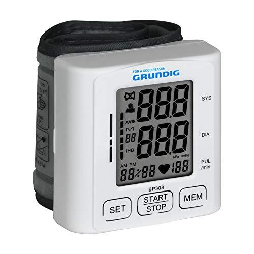 Grundig Blutdruckmessgerät Handgelenk - Blutdruck- und Pulsmessung - Manchette Umfang von 13,5-21,5 cm - LCD Display - 120 Speicherplätze