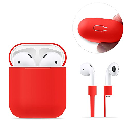 AirPods Case Protective, FRTMA Silicone Skin Case with Sport Strap for Apple AirPods, Red